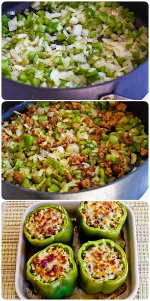 Stuffed Green Peppers with Brown Rice, Italian Sausage and ...